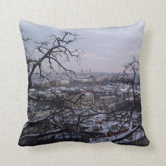 Skyline of Snowy Prague Cushion