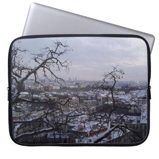 Skyline of Snowy Prague Laptop Sleeve