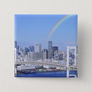 Skyline of Tokyo and Rainbow Bridge 15 Cm Square Badge