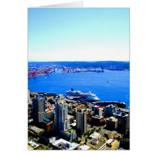 skyline seattle cityscape city card