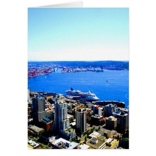 skyline seattle cityscape city card