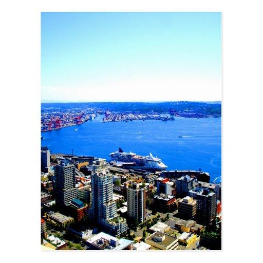 skyline seattle cityscape city postcards