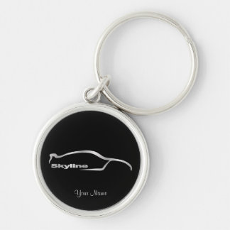 Skyline Silver Silhouette with Black Background Key Ring
