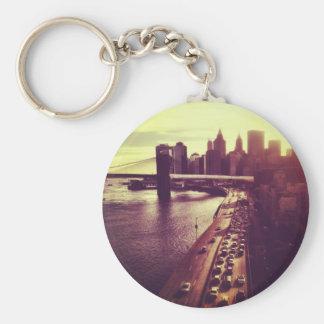 Skyline Sunset - Brooklyn Bridge and NYC Cityscape Basic Round Button Key Ring