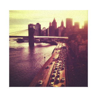 Skyline Sunset - Brooklyn Bridge and NYC Cityscape Stretched Canvas Prints