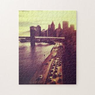 Skyline Sunset - Brooklyn Bridge and NYC Cityscape Jigsaw Puzzle