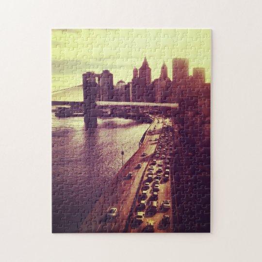 Skyline Sunset - Brooklyn Bridge and NYC Cityscape