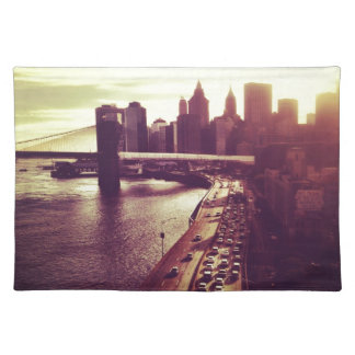 Skyline Sunset - Brooklyn Bridge and NYC Cityscape Placemat
