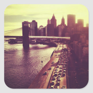 Skyline Sunset - Brooklyn Bridge and NYC Cityscape Square Sticker