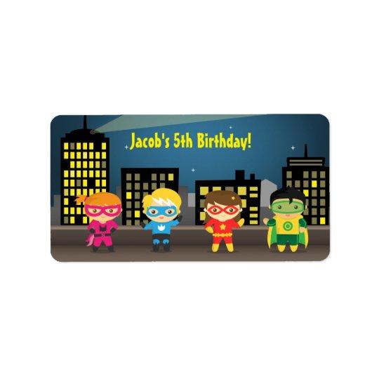 Skyline Superhero Birthday Party For Kids Label