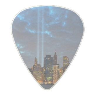 Skyline view of city in night. acetal guitar pick