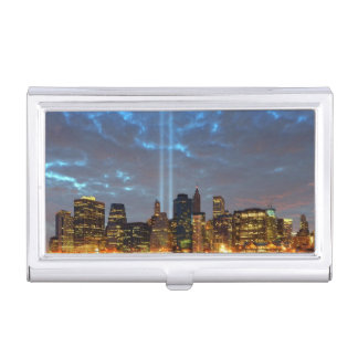 Skyline view of city in night. business card holder