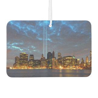 Skyline view of city in night. car air freshener