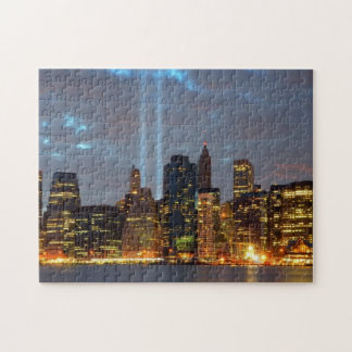 Skyline view of city in night. jigsaw puzzle