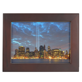 Skyline view of city in night. keepsake box