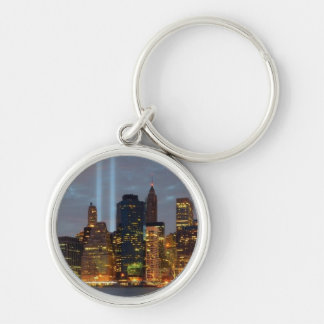 Skyline view of city in night. key ring