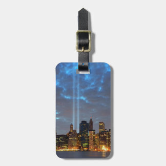 Skyline view of city in night. luggage tag