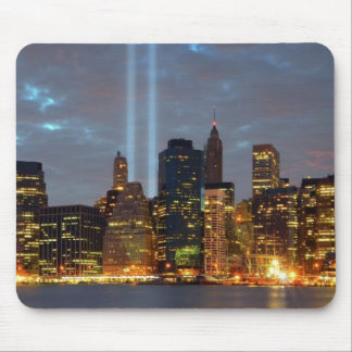 Skyline view of city in night. mouse pad