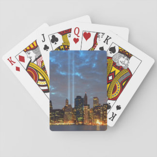 Skyline view of city in night. playing cards