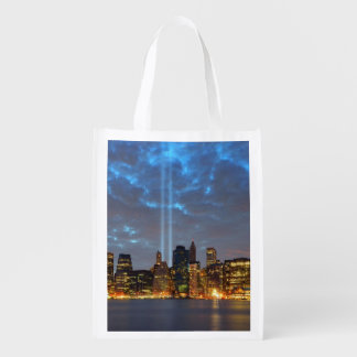 Skyline view of city in night. reusable grocery bag