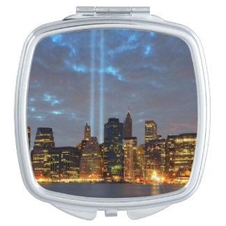 Skyline view of city in night. vanity mirrors