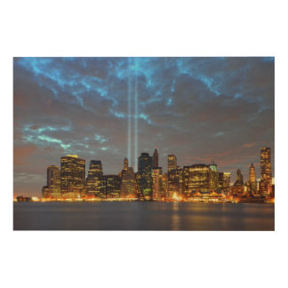 Skyline view of city in night. wood canvas