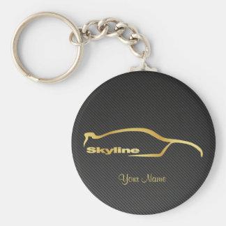 Skyline White Silhouette Gold w/ faux Carbon fiber Basic Round Button Key Ring