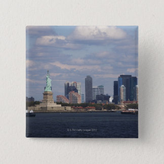 Skyline with Statue of Liberty 15 Cm Square Badge