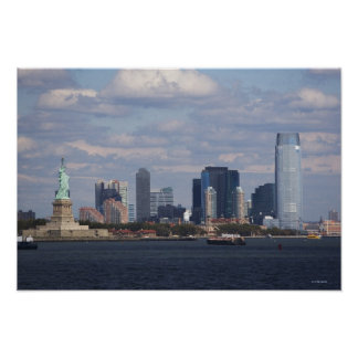 Skyline with Statue of Liberty Poster