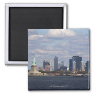 Skyline with Statue of Liberty Square Magnet