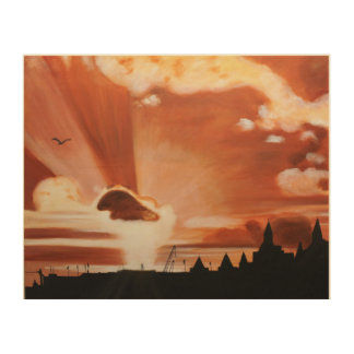 Skyscape of London as the sun is setting Wood Wall Decor