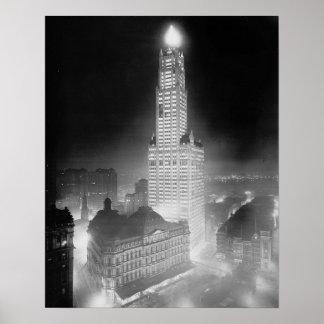 Skyscraper at Night, 1920. Vintage Photo Poster