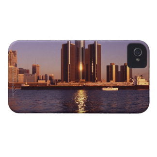 Skyscrapers by the water in Detroit 2 iPhone 4 Covers