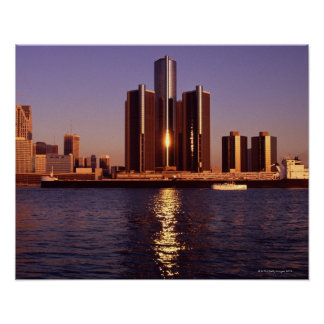 Skyscrapers by the water in Detroit 2 Poster