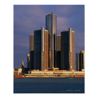 Skyscrapers by the water in Detroit 3 Poster