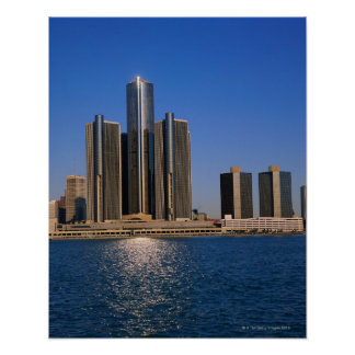 Skyscrapers by the water in Detroit Poster