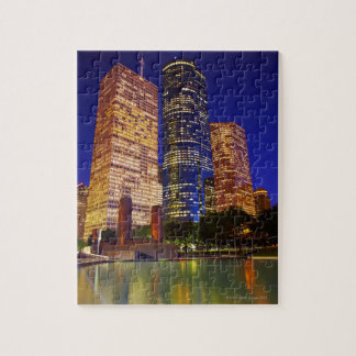 Skyscrapers in downtown Houston reflected in Jigsaw Puzzle