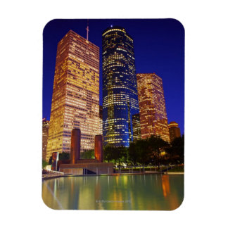 Skyscrapers in downtown Houston reflected in Rectangular Photo Magnet
