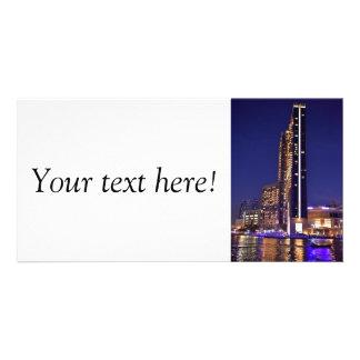 Skyscrapers in Dubai Marina at night Personalized Photo Card