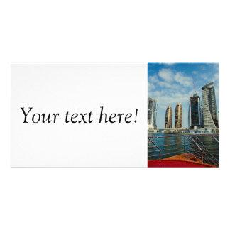 Skyscrapers in Dubai Marina Customised Photo Card