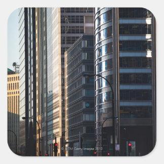 Skyscrapers line Chicago's financial district Square Sticker