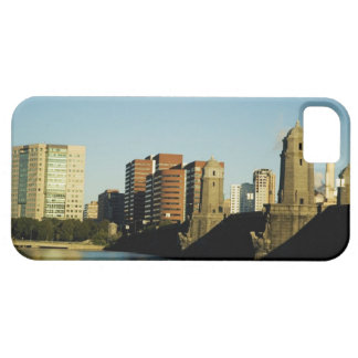 Skyscrapers near a bridge across a river, iPhone 5 case
