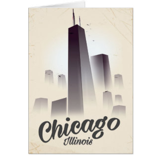 Skyscrapers of Chicago vintage travel poster Card