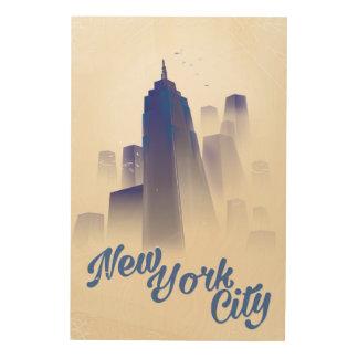 Skyscrapers of New york vintage travel poster Wood Prints