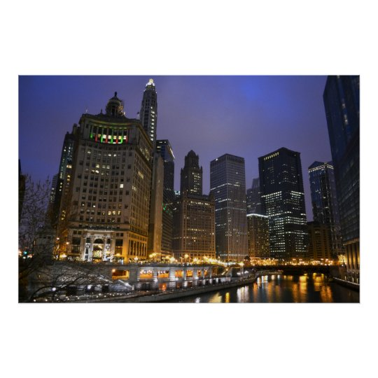 Skyscrapers on the Chicago River Poster