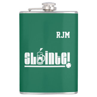 Sláinte Text St. Patrick's Day Fun Gift Flasks