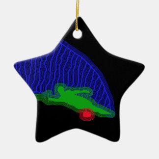 Slalom Water Skier Neon Spray Christmas Ornament