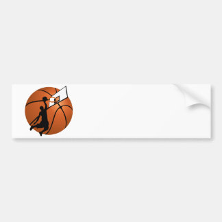 Slam Dunk Basketball Player w Hoop on Ball Bumper Sticker