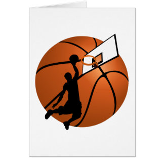 Slam Dunk Basketball Player w Hoop on Ball Greeting Card