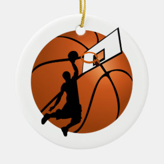 Slam Dunk Basketball Player w/Hoop on Ball Round Ceramic Decoration